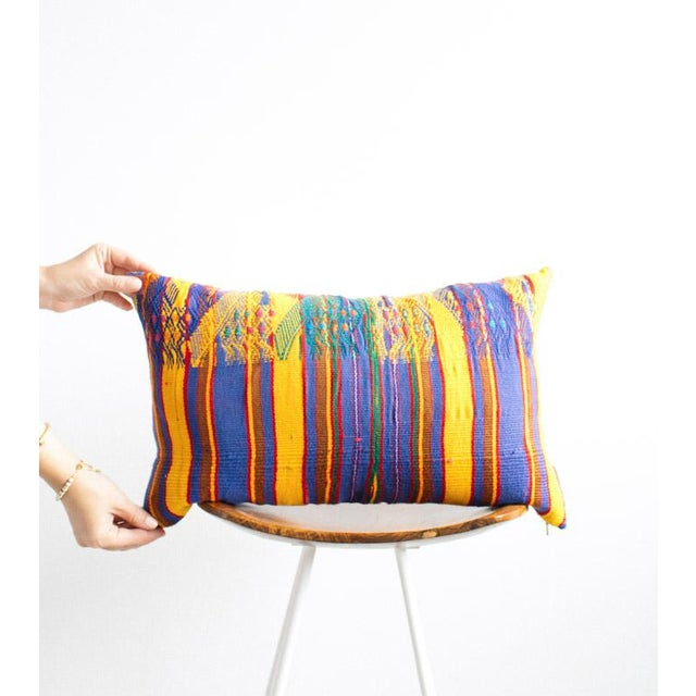 Vintage Guatemalan Yellow & Indigo Pillow - Image 4 of 5
