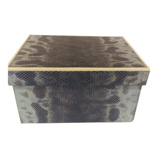 Art Deco R & Y Reptile Skin Jewelry Box For Sale