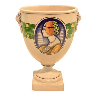 Vintage Italian Lady Medallion Double Handled Urn For Sale