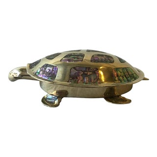 Mexican Alpaca Silver Plate Turtle Box with Mother of Pearl For Sale