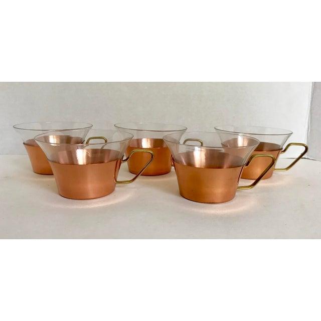 1950s 1950's Vintage Schott Mainz Jenaer German Glass Copper Tea Glasses- Set of 5 For Sale - Image 5 of 5
