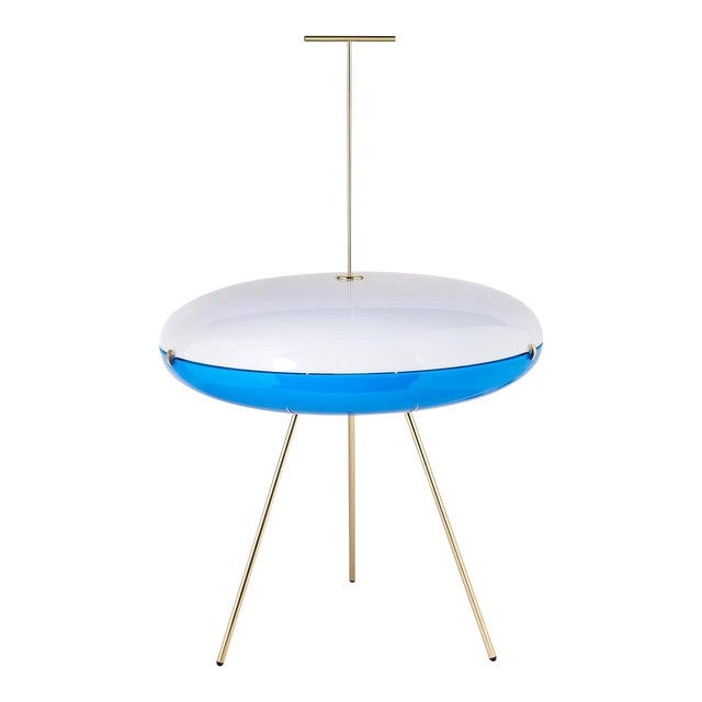 Gio Ponti Luna Orizzontale Floor Lamp for Tato in White and Blue For Sale