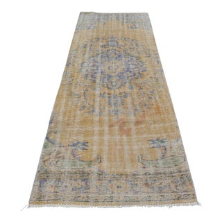 Handmade Anatolian Vintage Faded Rug - 3′ × 9′2″