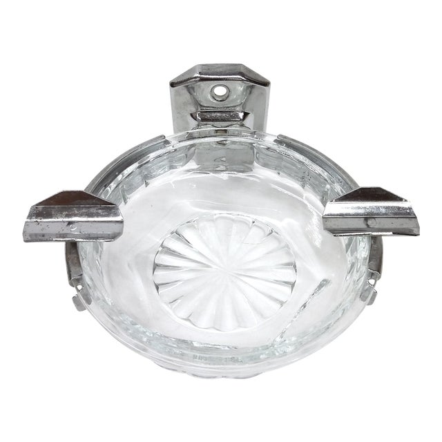 Deco Hotel Glass & Stainless Ashtray For Sale