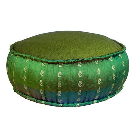 Emerald Ikat Pouf - Image 1 of 2