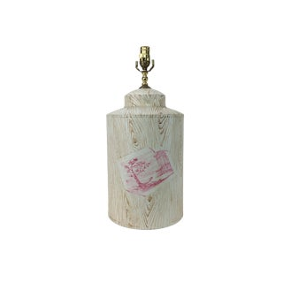 Vintage English Export Tole Tea Caddy Lamp With Faux Wood Design For Sale