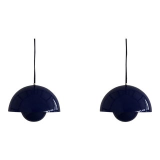 Mid-Century Modern Verner Panton 1´st Edition Flowerpot Pendant Lights for Louis Poulsen, Denmark - a Pair For Sale
