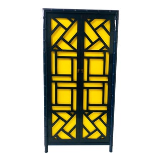 1970s Lacquered Faux Bamboo Armoire For Sale