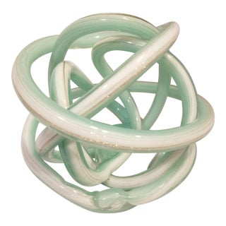 1950s Vintage Hand Blown Sculptural Cased Glass Knot For Sale