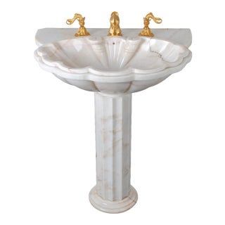 Sherle Wagner Marble Shell Pedestal Sink For Sale