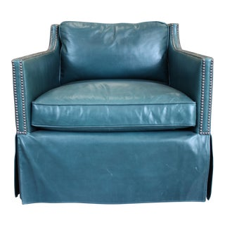 Bernhardt Teal Leather Upholstered Swivel Lounge Chair For Sale