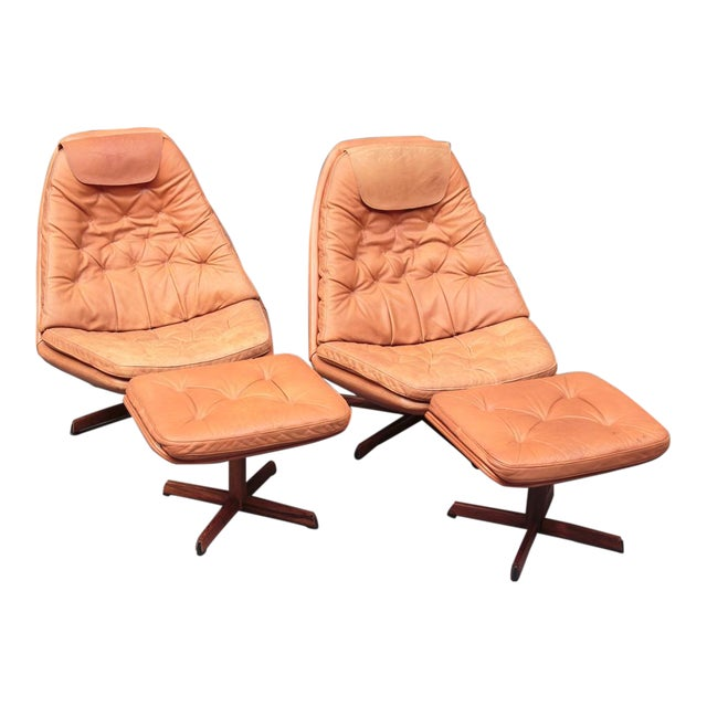 Danish Leather Swivel Chairs & Ottomans - A Pair For Sale