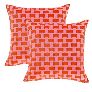 "Piper Collection Pink and Orange Velvet ""Gwen"" Pillows - A Pair"
