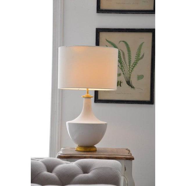 White Ceramic Table Lamp With Shade For Sale - Image 9 of 10