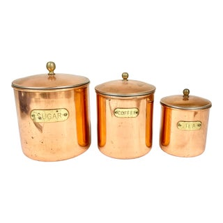 Vintage Copper and Brass Coffee, Tea and Sugar Canisters-Set of Three For Sale