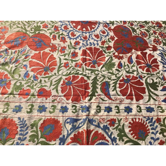 Handmade Suzani Pastel Floral Grand King Size Bedspread - 8' X 10' For Sale In Los Angeles - Image 6 of 10