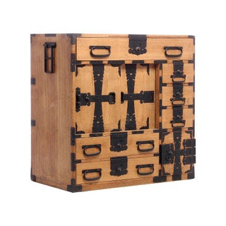 Antique Kiri Wood Meiji Japanese Merchants Chest With Iron Accents, 19th Century Preview