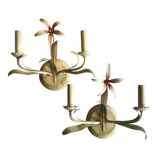 Mid-Century Flowered Lighted Sconces - A Pair For Sale
