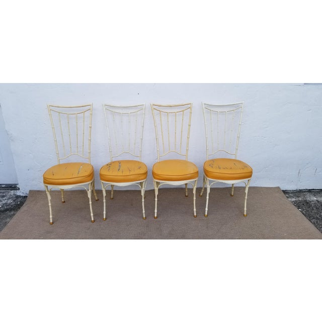 1960s Vintage Brown Jordan Style Faux Bamboo Aluminum Outdoor Dining- Set of 5 For Sale In Miami - Image 6 of 13