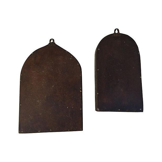 Brown & Blue Indian Archway Mirrors - A Pair For Sale - Image 4 of 5