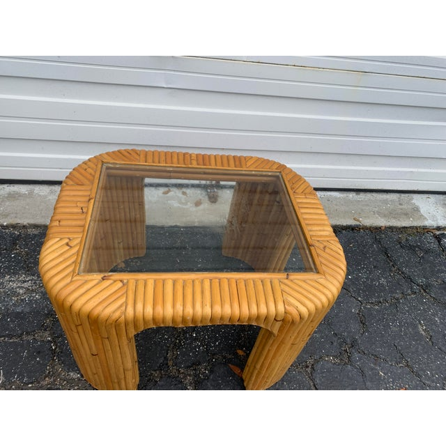 Boho Chic Bamboo Split Reed Coffee Table For Sale In Miami - Image 6 of 7