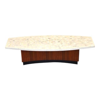 Terrazzo & Walnut Coffee Table by Harvey Probber For Sale
