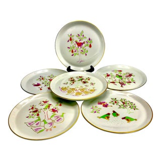 1960s Vintage Modernist 12 Days of Christmas Holiday China- Set of 6 For Sale