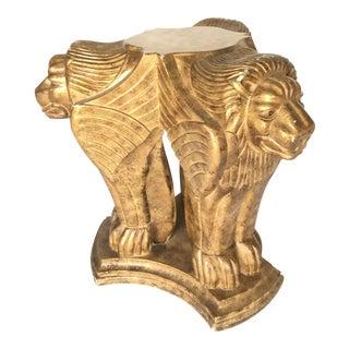 Hollywood Regency Sculptural Carved Winged Lion Gold Table Base Pedestal For Sale