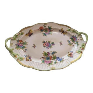 Late 20th Century Herend China Queen Victoria Pattern Platter For Sale