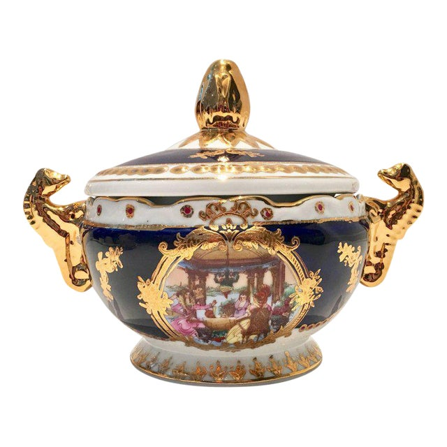 Vintage French Sevres Style Limoges Cobalt and 22-Karat Lidded Jar - Image 1 of 9
