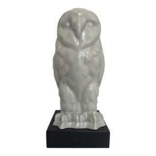 Mid-Century White Porcelain Owl Table Light For Sale