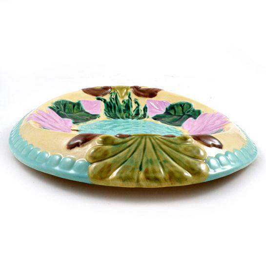 Art Nouveau Vintage Hand Painted Majolica Oval Platter, Marked Jd For Sale - Image 3 of 12