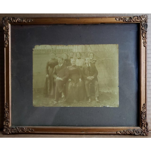 Victorian Circa 1880 American Victorian Family Portrait Photograph in Gilt Wood Frame For Sale - Image 3 of 3