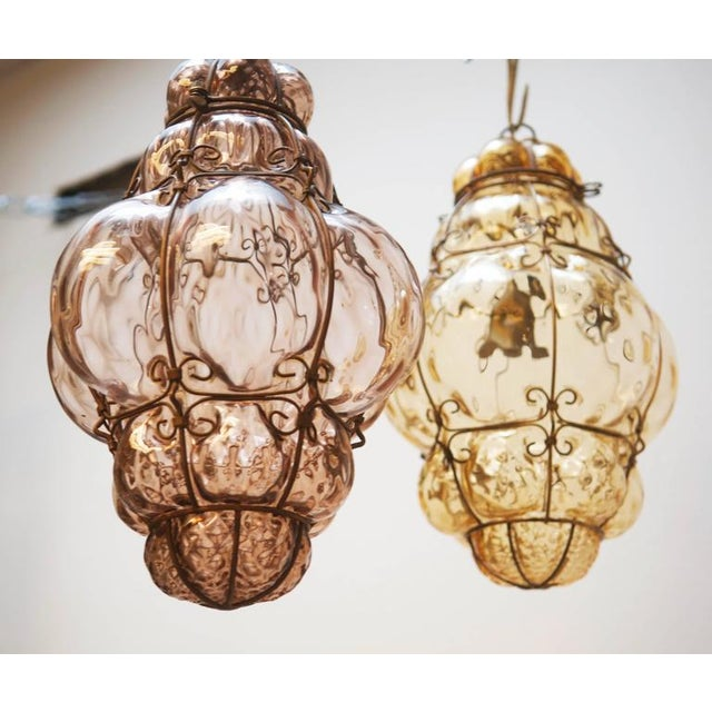 Steel Wire & Glass Pendant Lamp by Seguso Murano, 1960s For Sale - Image 6 of 10
