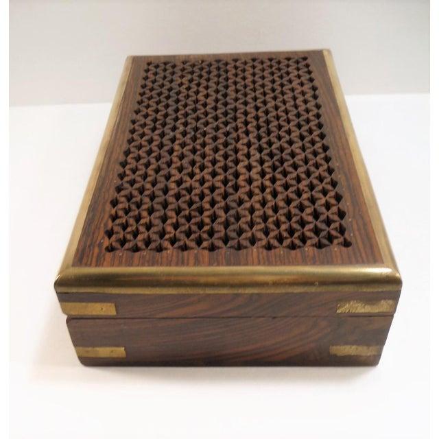 Vintage Pierced Wood Box - Image 4 of 7