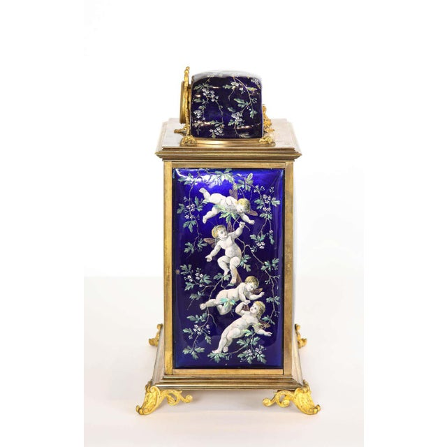 Bronze French Bronze and Limoges Enamel Jewelry Vitrine Cabinet with Clock For Sale - Image 8 of 13
