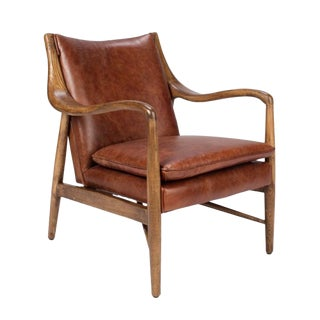 Wood & Leather Club Chair For Sale