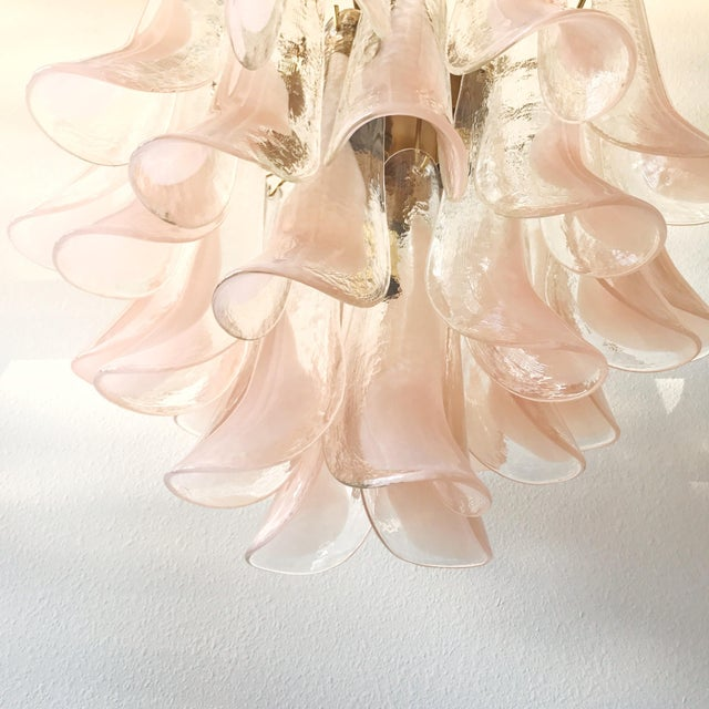 Pink 1960s Boho Chic Mazzega Brass and Pink Murano Glass Petal Chandelier For Sale - Image 8 of 9