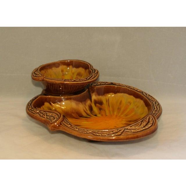 Orange Vintage California Pottery Orange Sunburst 2 Tier Serving Dish For Sale - Image 8 of 8