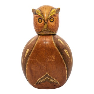1960s Vintage Italian Leather Owl Decanter For Sale