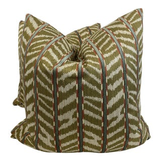 "Fabricut ""Caftan Chive"" 22"" Pillows-A Pair For Sale"