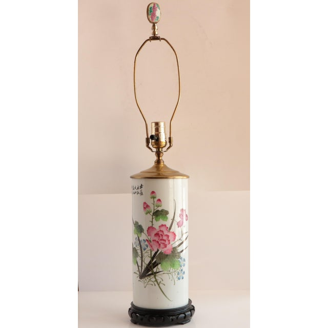 Chinese Porcelain Hat Stand Table Lamp For Sale - Image 4 of 8