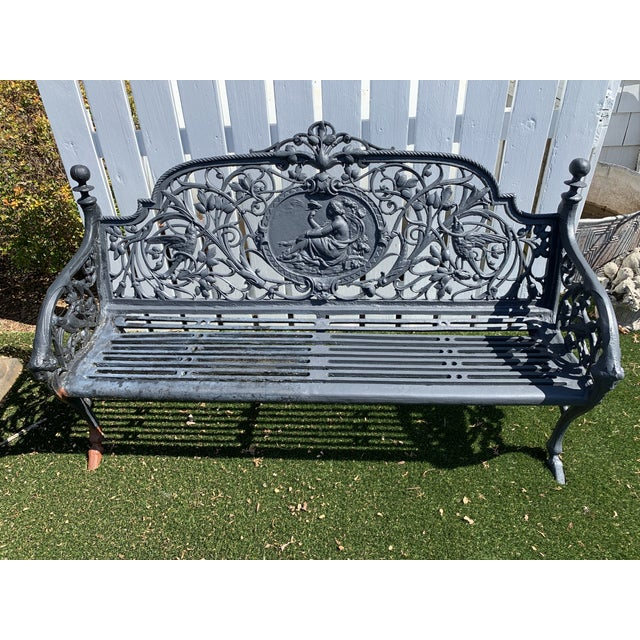 Neoclassical Antique French Black Iron Bench With Birds and Nymph For Sale - Image 3 of 13