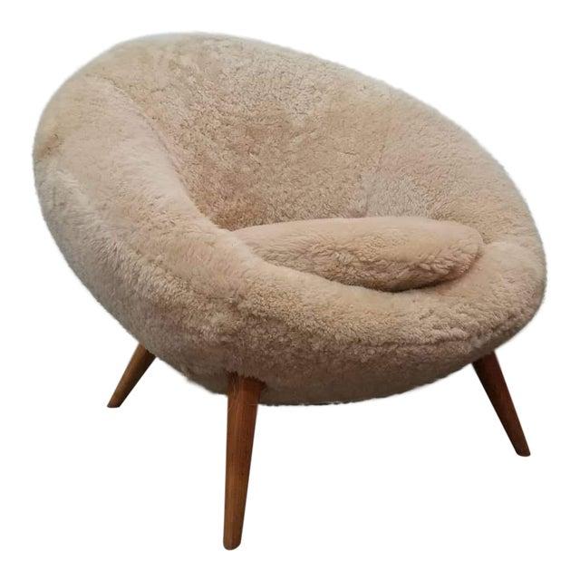 1950s Swedish Modern Jean Royere Style Sheepskin Chair For Sale