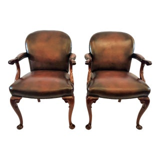 Pair Antique Late 19th Century English Mahogany Queen Anne Armchairs For Sale