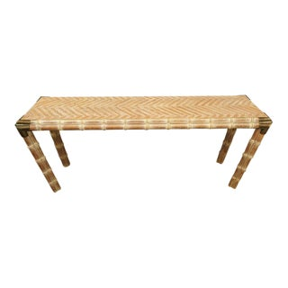 Console Table Faux Bamboo With Antique Brass Mounts For Sale