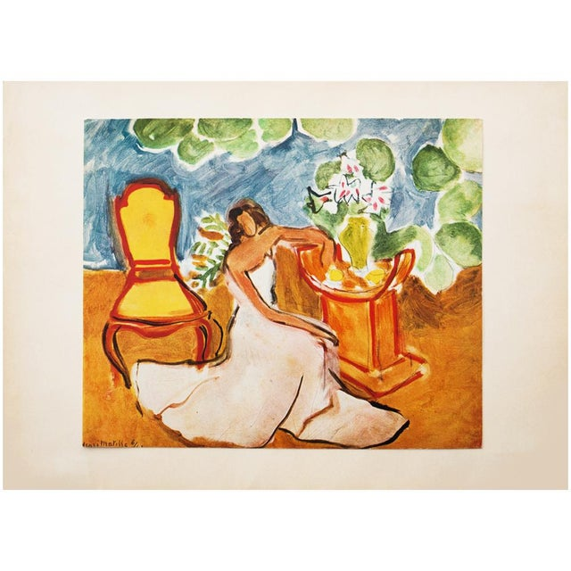 """Lithograph 1946 Henri Matisse Original """"Girl in the White Dress"""" Parisian Period Lithograph For Sale - Image 7 of 8"""