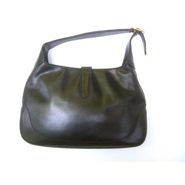 "Gucci Iconic Ebony Leather Jackie ""O"" Versatile Handbag / Shoulder Bag C 1970s For Sale - Image 10 of 11"