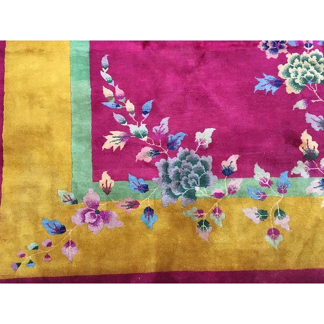 1920s Vintage Nichol Art Deco Chinese Rug - 9′ × 11′4″ For Sale - Image 4 of 8