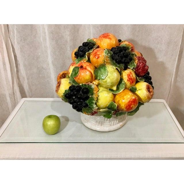 American Mid-Century Large Italian Majolica Ceramic Fruit Centerpiece For Sale - Image 3 of 7